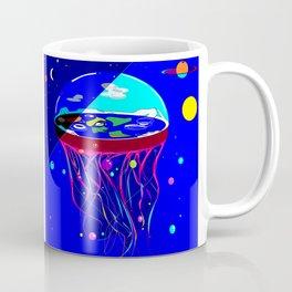 Flat Earth Jellyfish Spaceship Coffee Mug