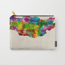 Mongolia Map in Watercolor Carry-All Pouch