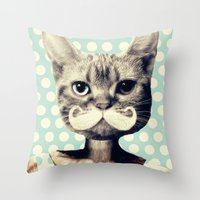 kitten Throw Pillows featuring Kitten by zumzzet