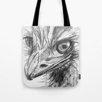ostrich Tote Bags featuring Ostrich  by Juliette Caron