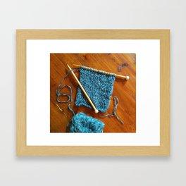 knitting photo, denim, denim photo, blue, wood, knitting, knit, brown, Framed Art Print