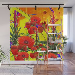 MODERN TROPICAL FLOWERS GARDEN DESIGN IN YELLOW-ORANGE COLORS Wall Mural