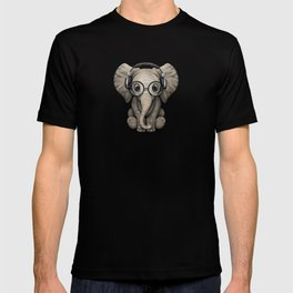 Cute Baby Elephant Dj Wearing Headphones and Glasses on Blue T-shirt