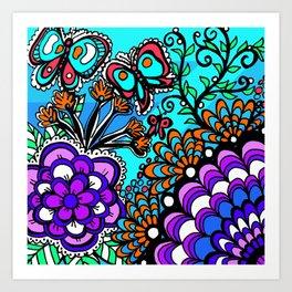 Doodle Art Flowers and Butterflies Art Print