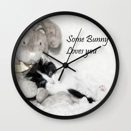 Easter bunny and kitten Wall Clock
