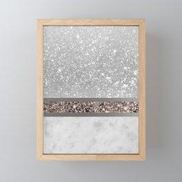 White Marble Rose Gold Glitter Stripe Glam #1 #minimal #decor #art #society6 Framed Mini Art Print