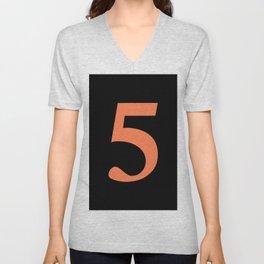 5 (CORAL & BLACK NUMBERS) Unisex V-Neck