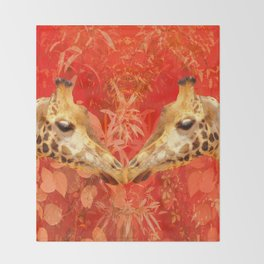 Face to face - beautiful giraffes - love is in the air Throw Blanket
