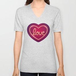 Love Heart Neon Sign Unisex V-Neck