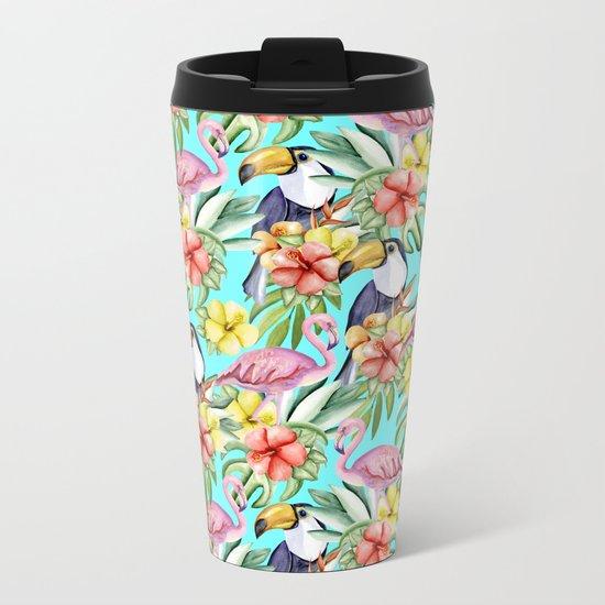 Tropical birds and flowers Metal Travel Mug