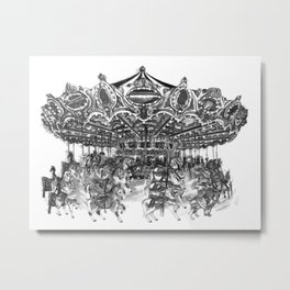 Carousel Drawing | Merry Go Round Art Print Metal Print