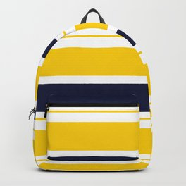 Yellow and Blue Horizontal Lines Stripes Backpack