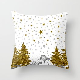 Beautiful glitter New Year on white Throw Pillow