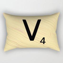 Scrabble V Initial - Large Scrabble Tile Letter Rectangular Pillow