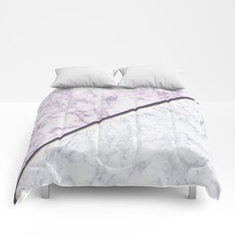 Lavender white faux gold abstract geometric marble Comforters