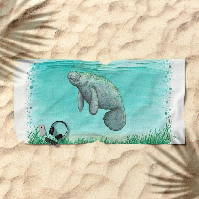 """Mossy Manatee"" by Amber Marine ~ Watercolor & Ink Painting, (Copyright 2016) Beach Towel"
