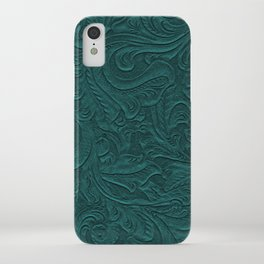 Deep Teal Tooled Leather iPhone Case