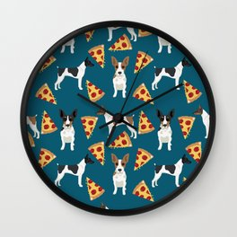 Rat Terrier pizza dog breed pet portrait dog pattern dog breeds gifts for dog lovers Wall Clock