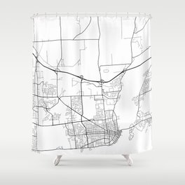 Kingston Map, Canada - Black and White Shower Curtain