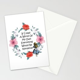 Floral Alice In Wonderland Quote - Nonsense Stationery Cards