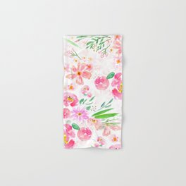 pink flowers and green leaf pattern  Hand & Bath Towel