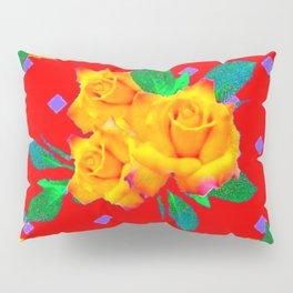 Red & Violet Gold Roses Violet Pattern Pillow Sham