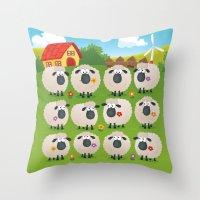 sheep Throw Pillows featuring Sheep by Elle Moz