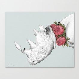 White Rhino with Proteas Canvas Print