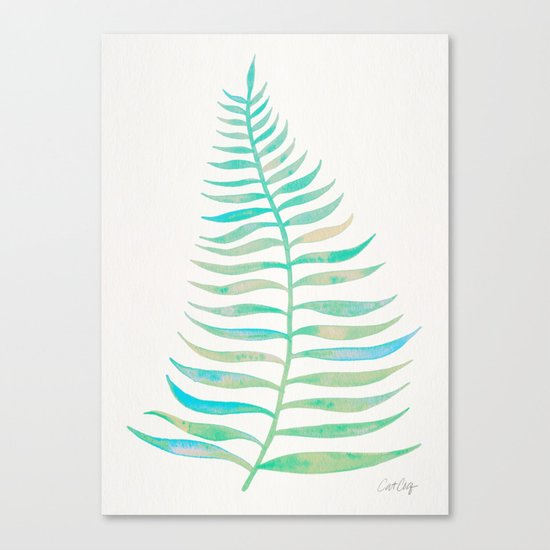 Palm Leaf – Sea Foam Palette Canvas Print