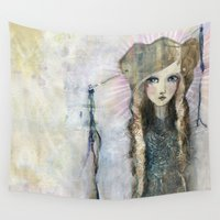 bali Wall Tapestries featuring Gesso Geisha by Jane Davenport by Jane Davenport
