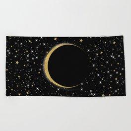 Black & Gold Magic Moon Beach Towel
