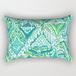 Spring TEMPLE TRIBAL Green Ikat Rectangular Pillow