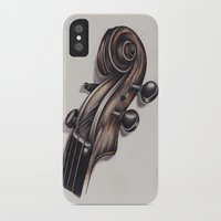 violin iPhone & iPod Cases featuring violin by Buffy Ino Kua