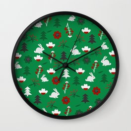 Christmas joy with little rabbits Wall Clock