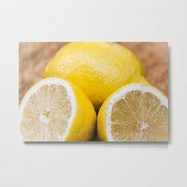 Fresh lemons on wooden tray Metal Print