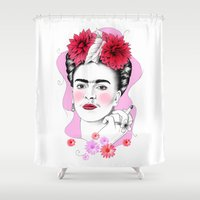 frida kahlo Shower Curtains featuring Frida Kahlo by sarah illustration