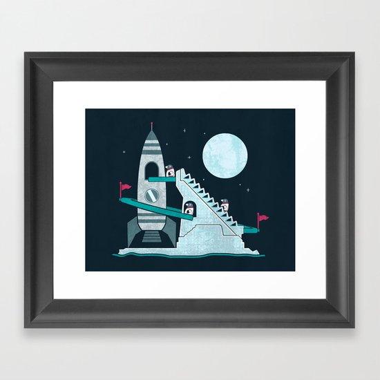 Penguin Space Race Framed Art Print