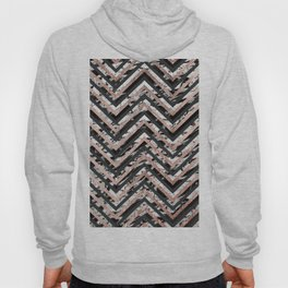 Black and White Marble and Rose Gold Chevron Zigzag Hoody