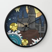 hogwarts Wall Clocks featuring Hogwarts by Lacey Simpson
