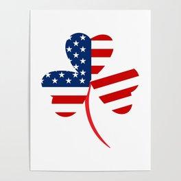 USA American Flag Of Shamrock St. Patrick's Day Irish Poster