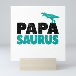 Papa Saurus Dad Daddy Dino Dinosaur T-Rex Gift Mini Art Print
