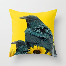 TWO CROW/RAVEN BIRD PORTRAITS & SUNFLOWERS GOLD  ART Throw Pillow