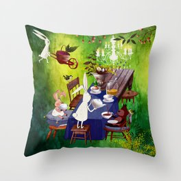 Bunny Tea Party in forest Throw Pillow