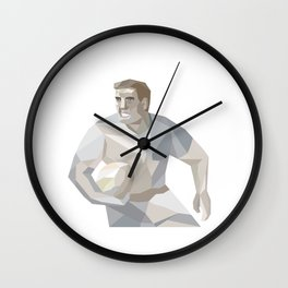 Rugby Player Running Low Polygon Wall Clock