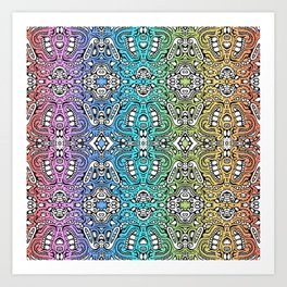 lovely rainbow lumps and bumps mirrored doodle Art Print
