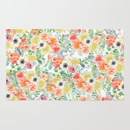 Hand painted modern pink yellow green watercolor floral pattern Rug