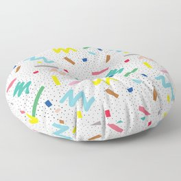 Memphis Pattern Stripes Zigzag and Blobs Floor Pillow