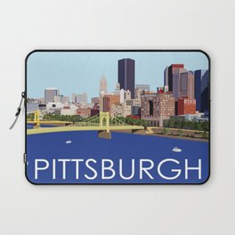 Fun Computer Illustration of Downtown Pittsburgh Skyline, Bridges, and Allegheny River Laptop Sleeve