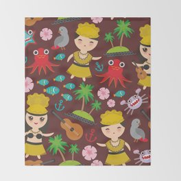 Hawaiian Hula Dancer Kawaii boy girl seamless pattern, set of Hawaii symbols with a guitar ukulele Throw Blanket