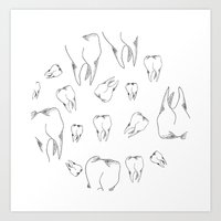 tooth Art Prints featuring Tooth by Mafe Oropeza